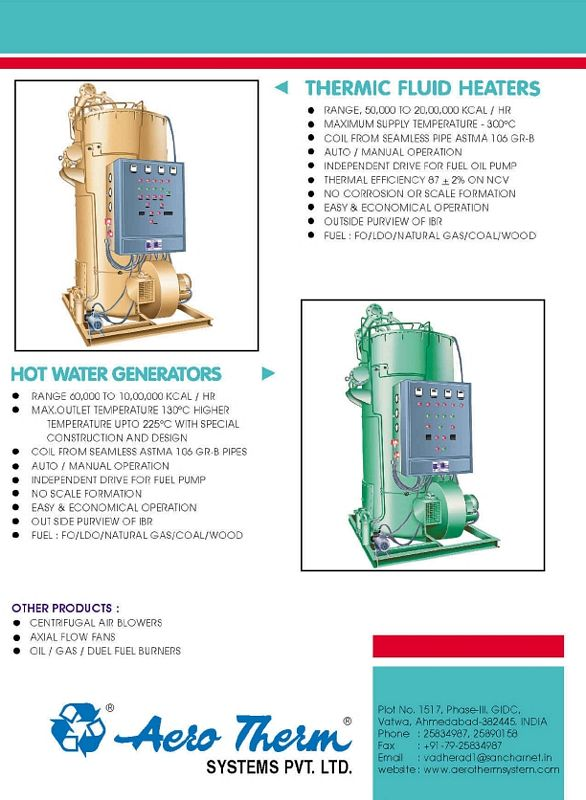 Product List Thermic Fluid Heaters Indirect Air Heaters